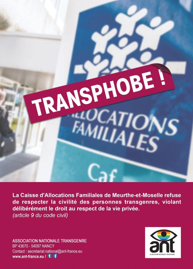 Visuel pour dénoncer la transphobie de la CAF 54
