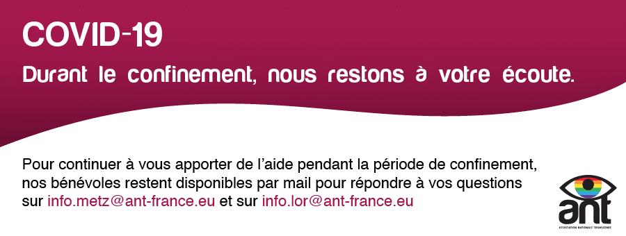 Infos Covid19 : nous restons disponibles par mail sur info.metz@ant-france.eu et sur info.lor@ant-france.eu